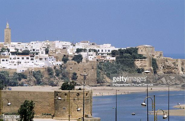 Kasbah des Oudaias on the distant right and the Oued Bou Regreg River in the foreground Rabat Morocco