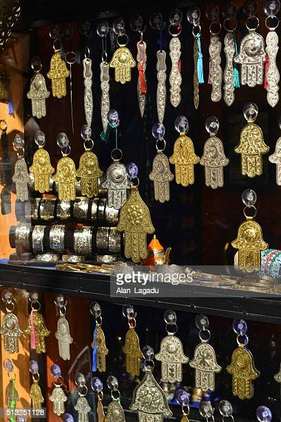 kasbah, marrakech, morocco, africa. - hand of fatima stock photos and pictures