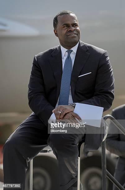 Kaseem Reed mayor of Atlanta looks on during a news conference at HartsfieldJackson Atlanta International airport in Atlanta Georgia US on Friday Oct...