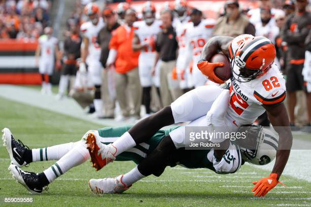 Kasen Williams of the Cleveland Browns is tackled by Morris Claiborne of the New York Jets in the second quarter at FirstEnergy Stadium on October 8...