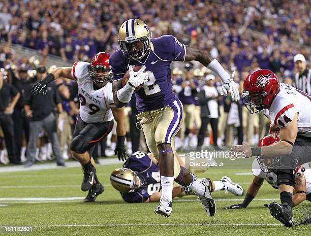Kasen Williams of the Washington Huskies rushes for a touchdown against the San Diego State Aztecs on September 1 2012 at CenturyLink Field in...