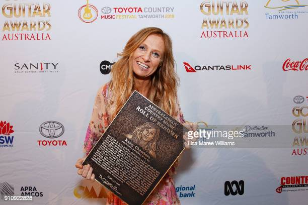Kasey Chambers is named the Australasian Country Music Roll of Renown winner during the 2018 Toyota Golden Guitar Awards on January 27 2018 in...
