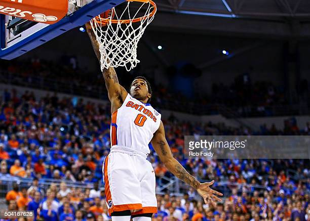 Kasey Hill of the Florida Gators dunks the ball during the first half of the game against the LSU Tigers at Stephen C. O'Connell Center on January 9,...
