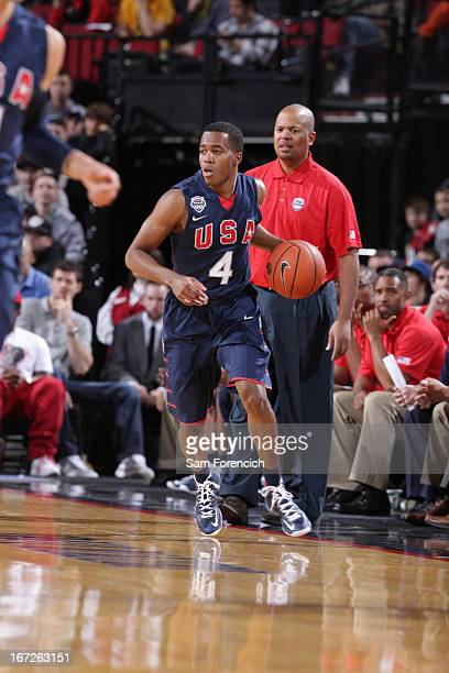 Kasey Hill of the USA Junior Select Team drives upcourt against the World Select Team during the 2013 Nike Hoop Summit game on April 20 2013 at the...