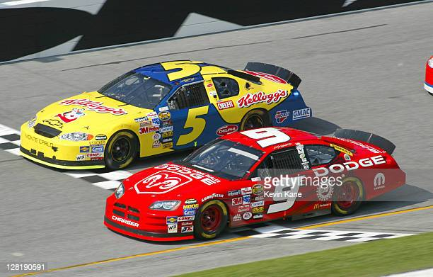 Kasey Kahne and Kyle Busch at the Gatorade Duel 1 during Daytona Speedweek at Daytona International Speedway in Daytona Florida on February 17 2004