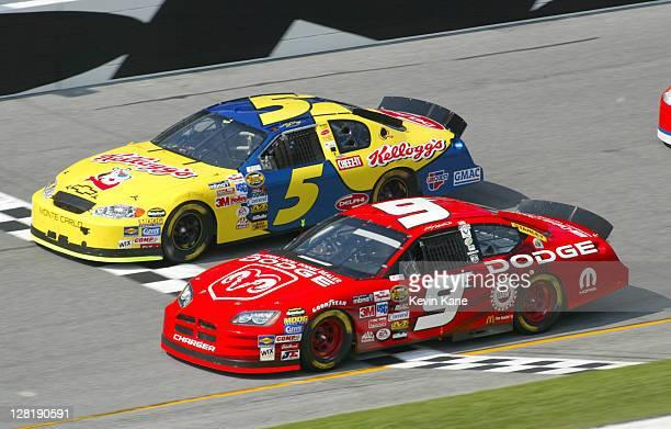Kasey Kahne and Kyle Busch at the Gatorade Duel 1 during Daytona Speedweek at Daytona International Speedway in Daytona Florida on February 17 2004