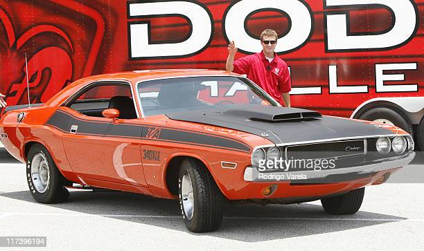Kasey Kahne at the unveiling of the new Dodge Challenger at the NASCAR race