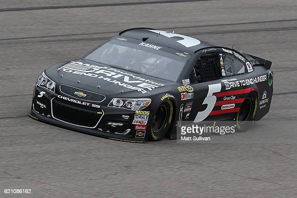 Kasey Kahne driver of the AARP Drive to End Hunger Chevrolet practices for the NASCAR Sprint Cup Series AAA Texas 500 at Texas Motor Speedway on...