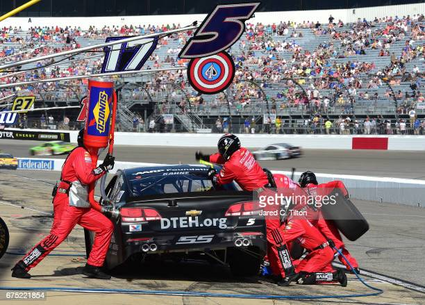 Kasey Kahne driver of the AARP Drive to End Hunger Chevrolet pits during the Monster Energy NASCAR Cup Series Toyota Owners 400 at Richmond...