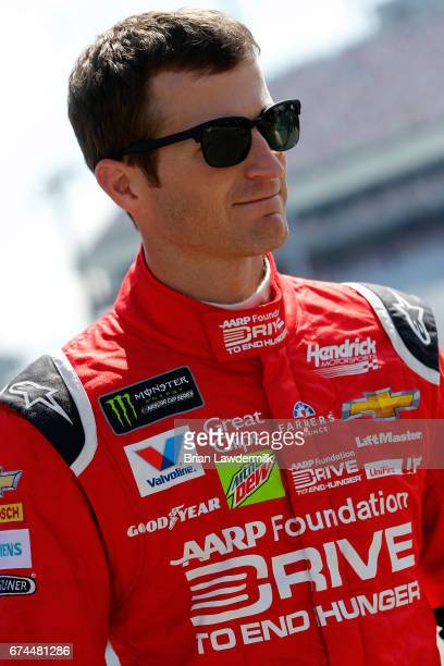 Kasey Kahne driver of the AARP Drive to End Hunger Chevrolet stands in the garage area during practice for the Monster Energy NASCAR Cup Series...