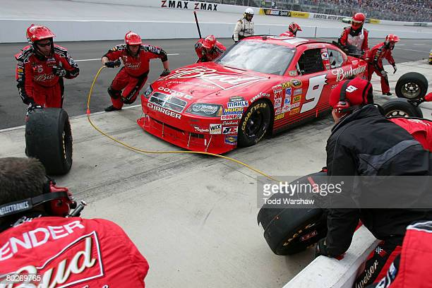 Kasey Kahne driver of the Budweiser Dodge pits during the NASCAR Sprint Cup Series Food City 500 at the Bristol Motor Speedway on March 16 2008 in...