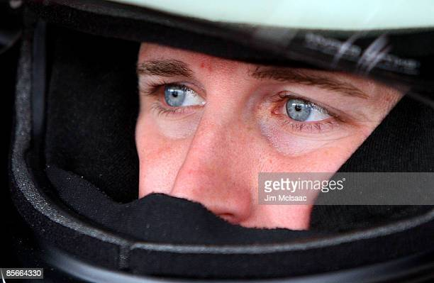 Kasey Kahne driver of the Budwiser Dodge sits in his car prior to practice for the NASCAR Sprint Cup Series Goody�s Fast Pain Relief 500 at the...