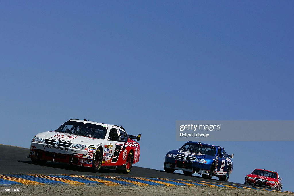 Kasey Kahne, driver of the #9 Dodge Dealers/UAW Dodge, leads Kurt Busch, driver of the #2 Miller Lite Dodge, during the NASCAR Nextel Cup Series Toyota/Save Mart 350 at Infineon Raceway on June 24, 2007 in Sonoma, California.