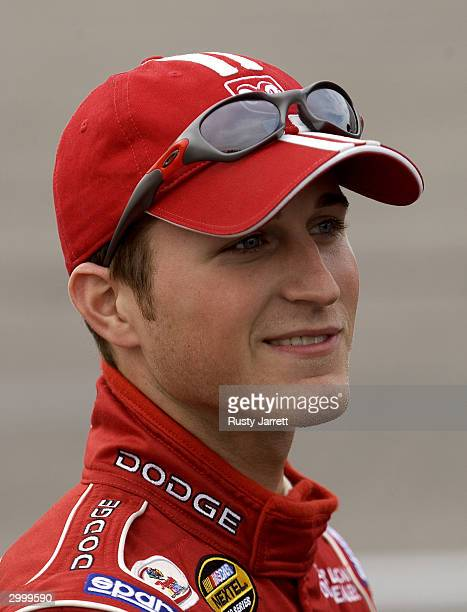 Kasey Kahne driver of the Evernham Motorsports Dodge during practice for the NASCAR Nextel Cup Series Subway 400 on February 20 2004 at North...