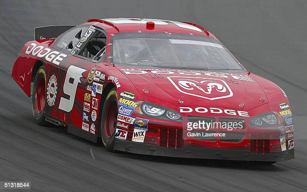 Kasey Kahne driver of the Evernham Motorsports Dodge during practice for the NASCAR Nextel Cup Series Sylvania 300 on September 17 2004 at New...