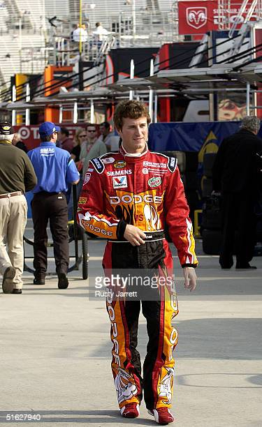 Kasey Kahne driver of the Evernham Motorsports Dodge during practice for the NASCAR Nextel Cup Series Bass Pro Shops MBNA 500 on October 30 2004 at...