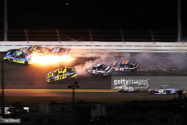 Kasey Kahne driver of the Farmers Insurance Chevrolet Denny Hamlin driver of the FedEx Express Toyota David Ragan driver of the Front Row Motorsports...