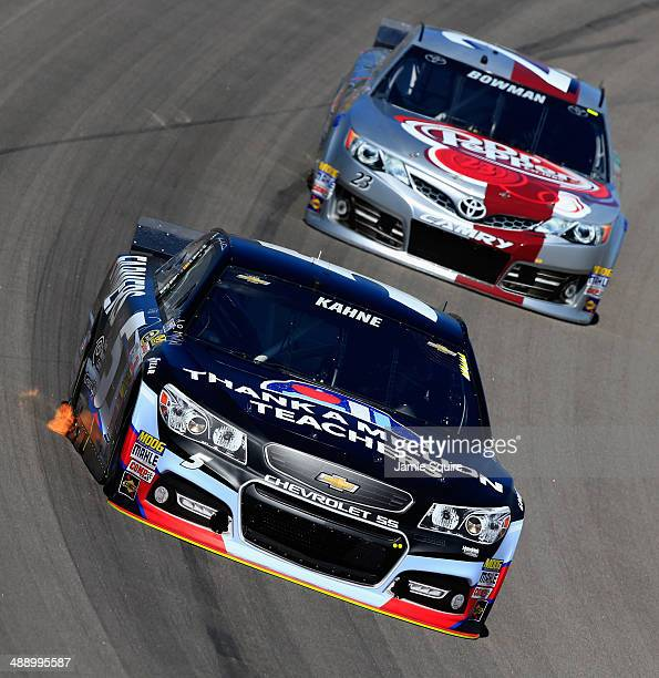 Kasey Kahne driver of the FarmersInsurance/Thankamillionteachers Chevrolet drives ahead of Alex Bowman driver of the DrPepper Toyota during practice...