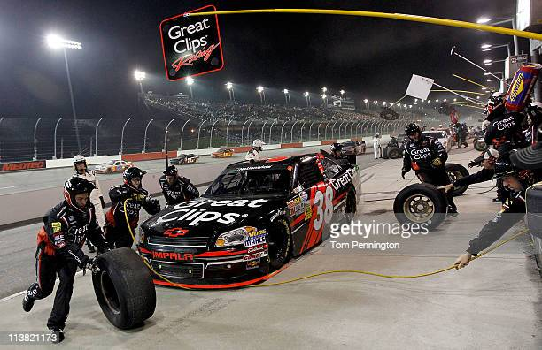 Kasey Kahne driver of the Great Clips Chevrolet pits the NASCAR Nationwide Series Royal Purple 200 at Darlington Raceway on May 6 2011 in Darlington...