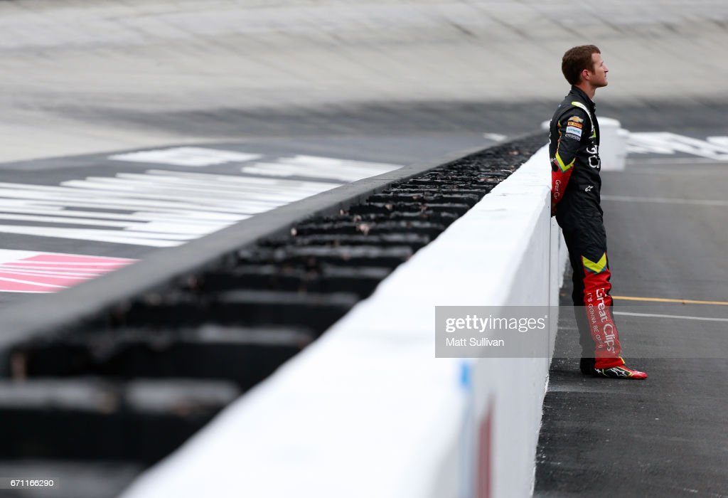Kasey Kahne, driver of the #5 Great Clips Chevrolet, stands on pit road during practice for the Monster Energy NASCAR Cup Series Food City 500 at Bristol Motor Speedway on April 21, 2017 in Bristol, Tennessee.