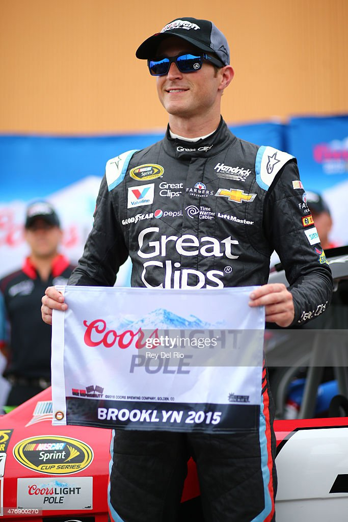 Kasey Kahne, driver of the #5 Great Clips Chevrolet, wins the pole during qualifying for the NASCAR Sprint Cup Series Quicken Loans 400 at Michigan International Speedway on June 12, 2015 in Brooklyn, Michigan.