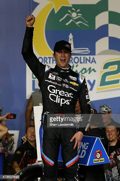 Kasey Kahne driver of the Haas Automation Chevrolet celebrates in victory lane after winning the NASCAR Camping World Truck Series North Carolina...