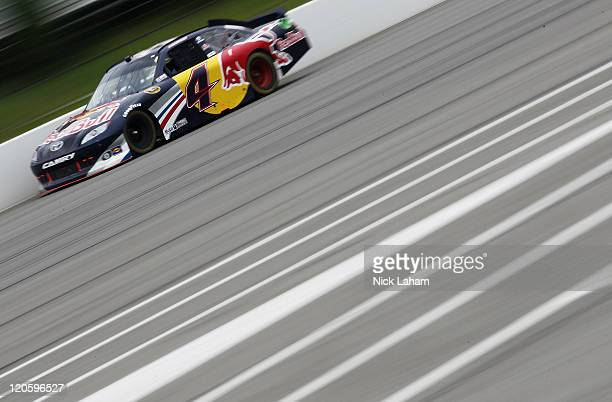 Kasey Kahne driver of the Red Bull Toyota races during the NASCAR Sprint Cup Series Good Sam RV Insurance 500 at Pocono Raceway on August 7 2011 in...