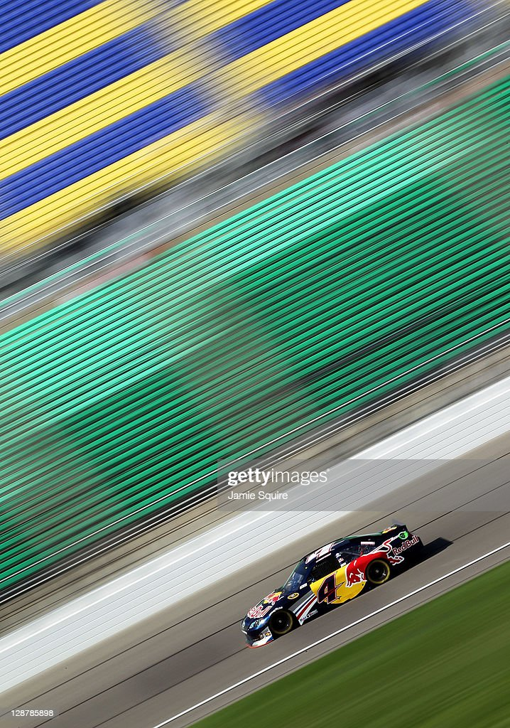 Kasey Kahne drives the #4 Red Bull Toyota during practice for the NASCAR Sprint Cup Series Hollywood Casino 400 at Kansas Speedway on October 7, 2011 in Kansas City, Kansas.