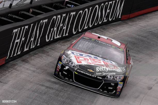 Kasey Kahne Hendrick Motorsports Chevrolet SS drives through the middle of turns one and two during practice for the Bass Pro Shops NRA Night Race on...