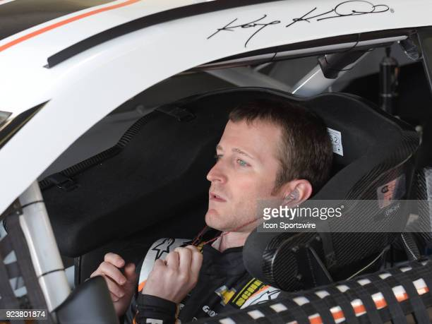 Kasey Kahne Leavine Family Racing Procore Habitat For Humanity Chevrolet Camaro sits in his car during practice for the Monster Energy Cup Series...