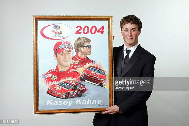Kasey Kahne poses after winning the Rookie of the Year Award at the 2004 NASCAR Nextel Cup Awards at the Waldorf Astoria on December 3 2004 in New...