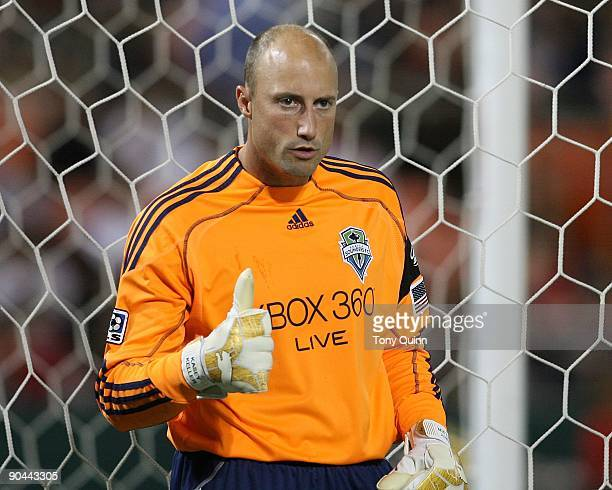 Kasey Keller captain of the Seattle Sounders in the final of the US Open Cup against DC United at RFK Stadium on September 2 2009 in Washington DC...