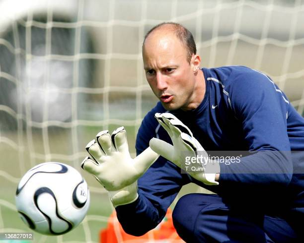 Kasey Keller focuses on the ball In the final training session at the camp at SAS Park in Cary North Carolina on May 21 2006