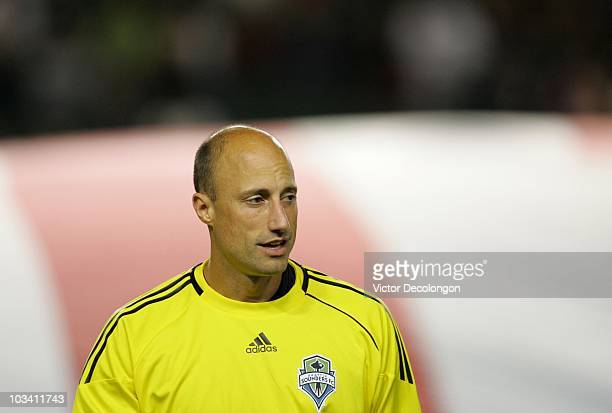 Kasey Keller of Seattle Sounders FC looks on prior to their MLS match against Chivas USA at The Home Depot Center on August 14 2010 in Carson...