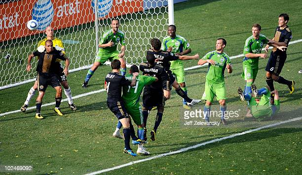 Kasey Keller of the Seattle Sounders FC makes a save against the Philadelphia Union at the PPL Park stadium opener on June 27 2010 in Chester...