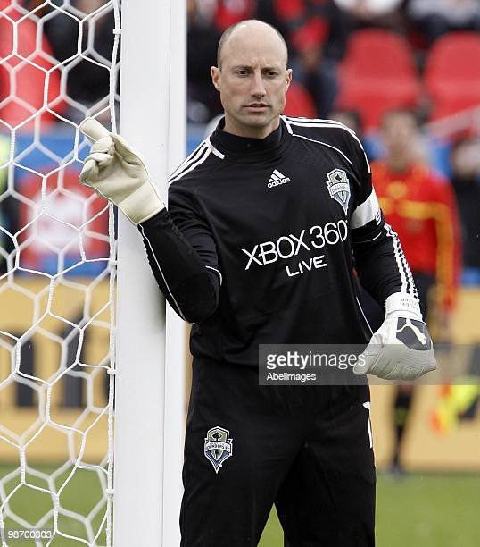 Kasey Keller of the Seattle Sounders FC signals to his team during a MLS game against Toronto FC at BMO Field on April 25 2010 in Toronto Ontario...