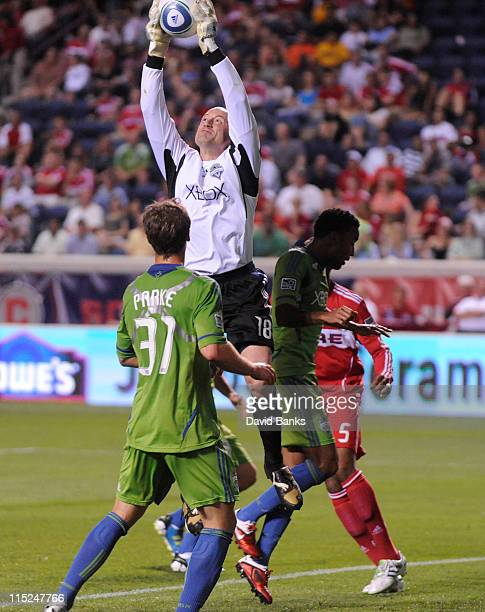 Kasey Keller of the Seattle Sounders makes a save against the Chicago Fire in an MLS match on June 4 2011 at Toyota Park in Bridgeview Illinois The...