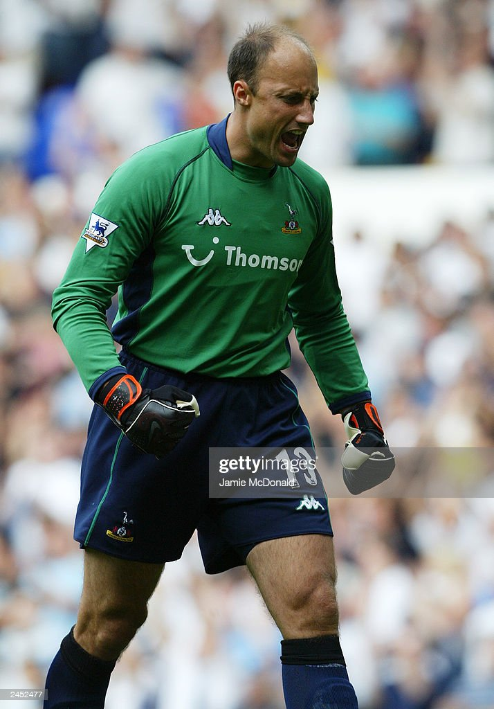 Kasey Keller of Tottenham Hostspur celebrates during the FA Barclaycard Premiership match between Tottenham Hotspur and Leeds United held on August 23, 2003, at White Hart Lane, in London. Tottenham Hotspur won the match 2-1.