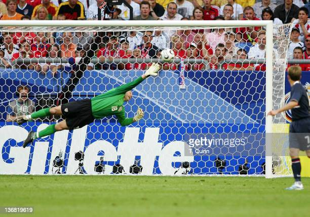 Kasey Keller streches but can't stop this shot for a goal by Tomas Poborsky from Czech Republic The USA fell to the Czech Republic 30 in a group E...