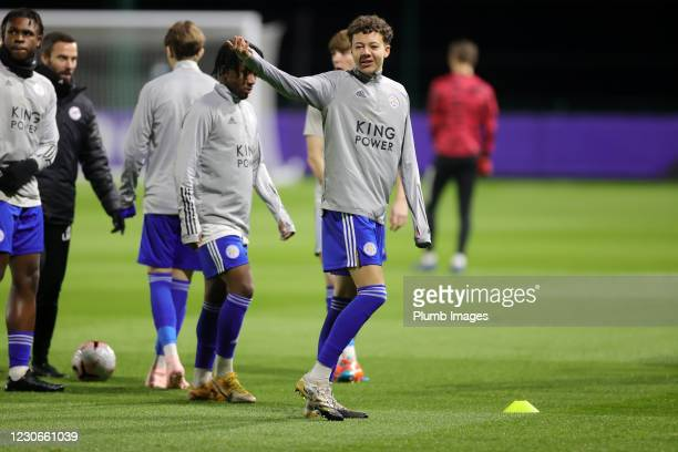 Kasey McAteer of Leicester City warms up ahead of the Premier League 2 match between Leicester City and Manchester United at Leicester City Training...