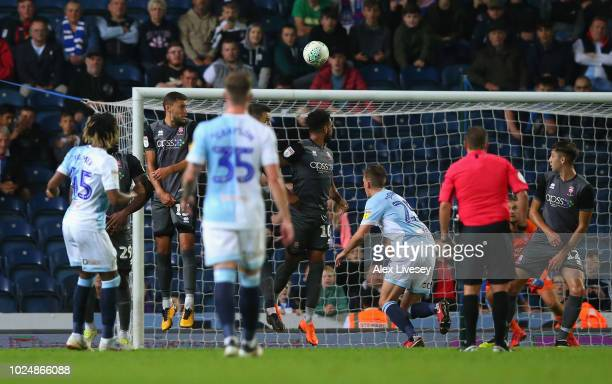 Kasey Palmer of Blackburn Rovers scores their fourth goal from a free kick during the Carabao Cup Second Round match between Blackburn Rovers and...