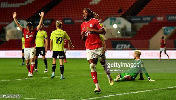 Kasey Palmer of Bristol City celebrates after scoring his sides fourth goal during Carabao Cup Second Round match between Bristol City and...