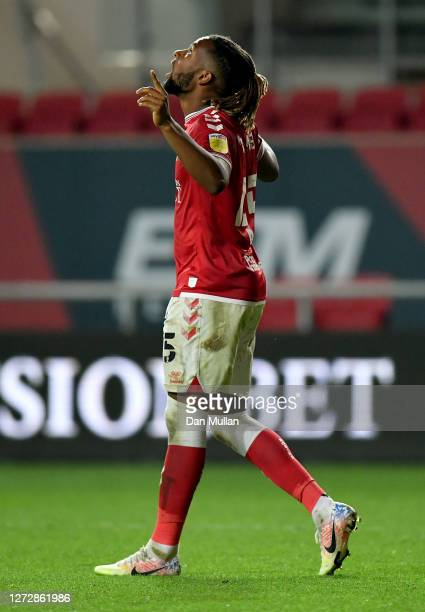 Kasey Palmer of Bristol City celebrates after scoring his team's second goal during Carabao Cup Second Round match between Bristol City and...
