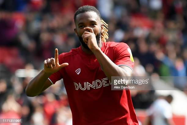 Kasey Palmer of Bristol City celebrates scoring his sides first goal during the Sky Bet Championship match between Bristol City and Middlesbrough at...