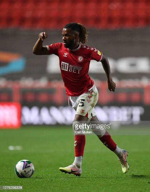 Kasey Palmer of Bristol City controls the ball during the Carabao Cup second round match between Bristol City and Northampton Town at Ashton Gate on...