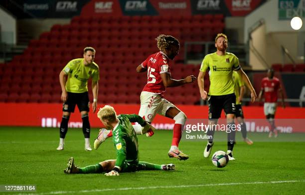 Kasey Palmer of Bristol City on his way to scoring his team's second goal during Carabao Cup Second Round match between Bristol City and Northampton...