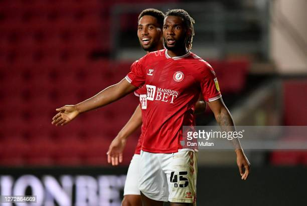 Kasey Palmer of Bristol City reacts after what would have been their third goal is disallowed during Carabao Cup Second Round match between Bristol...