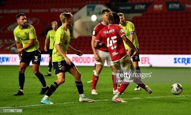 Kasey Palmer of Bristol City scores his team's fourth goalduring Carabao Cup Second Round match between Bristol City and Northampton Town at Ashton...