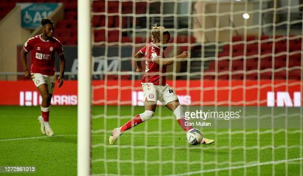 Kasey Palmer of Bristol City scores his team's second goal during Carabao Cup Second Round match between Bristol City and Northampton Town at Ashton...
