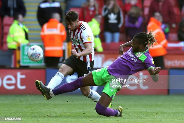 Kasey Palmer of Bristol City tackles Jack O'Connell of Sheffield United at Bramall Lane during the Sky Bet Championship match between Sheffield...